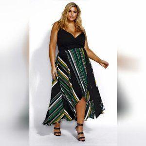 City Chic Black Striped Wrap Maxi Dress plus sz 20
